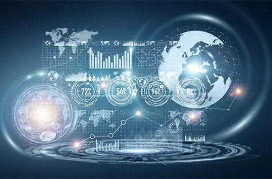 Digital Analytics mit verschiedenen blauen Zahlen